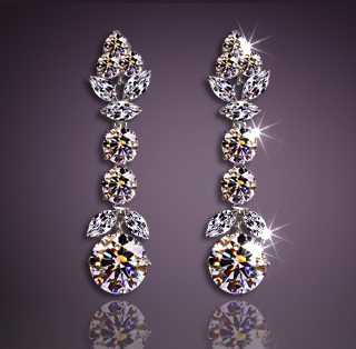 Solpresa Luxury Platinum Silver Austrian Crystal Diamond Earrings