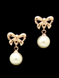 Solpresa Lovely Rose Gold Plated Ribbon Pearl Earrings