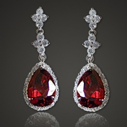 Solpresa Austrian Crystal Diamond Platinum Silver Bride Earrings RED