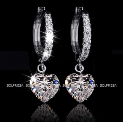 Solpresa Austrian Crystal Heart Shaped Diamond Earrings